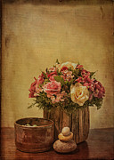 Small Basket Framed Prints - Basket of Spring Roses Framed Print by Terry Rowe
