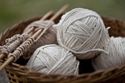 Fibers Prints - Basket of Yarn Print by Wilma  Birdwell