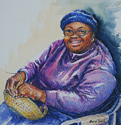African-americans Painting Posters - Basket Weaver in Blue Hat Poster by Sharon Sorrels