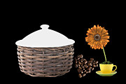 Coffe Digital Art - Basket With A Yellow Cup With Flower by Grace  Olsson