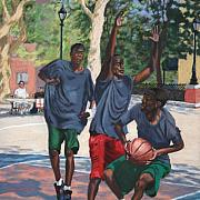 Game Pastels Metal Prints - Basketball Action Metal Print by Marion Derrett