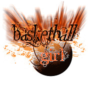 Basket Ball Digital Art Prints - Basketball Girl Design Print by Terrie Galvin