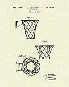 Basketball Sports Drawings Prints - Basketball Hoop 1936 Patent Art Print by Prior Art Design