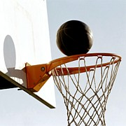 Basket Ball Paintings - Basketball hoop and ball by Lanjee Chee