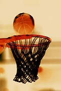 Basket Ball Game Prints - Basketball hoop and basketball ball 1 Print by Lanjee Chee