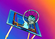 Basket Ball Game Posters - Basketball hoop and basketball ball Poster by Lanjee Chee