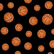 Basketballs Art - Basketball pattern by Li Or