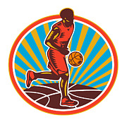 Basketball Player Dribbling Ball Woodcut Retro Print by Aloysius Patrimonio