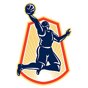 Player Prints - Basketball Player Dunk Rebound Ball Retro Print by Aloysius Patrimonio