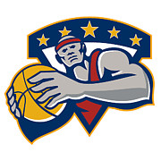 Ball Digital Art - Basketball Player Holding Ball Star Retro by Aloysius Patrimonio