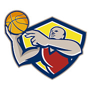 Ball Digital Art - Basketball Player Laying Up Ball Retro by Aloysius Patrimonio