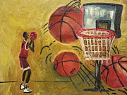 Basketball Abstract Painting Framed Prints - Basketball Framed Print by Reba Baptist