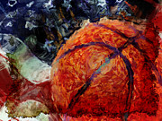 Basketball Abstract Digital Art Posters - Basketball USA Poster by David G Paul