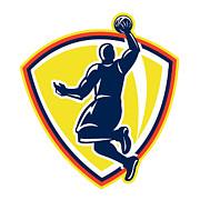Basketballer Dunking Rebounding Ball Retro Print by Aloysius Patrimonio