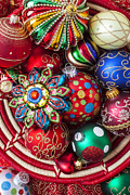 Basket Prints - Basketful of Christmas ornaments Print by Garry Gay