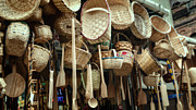 Wooden Spoons Prints - Baskets and Spoons Print by Joan Carroll
