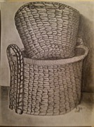 Baskets Drawings Framed Prints - Baskets Framed Print by Irving Starr