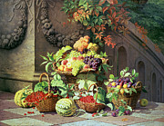 Grapevine Leaf Painting Posters - Baskets of Summer Fruits Poster by William Hammer