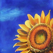 Yellow And Orange Sunflower Prints - Basking in the Sun Print by Donna Tuten