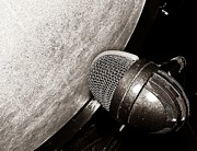 Live Music Prints - Bass Drum and Mic Print by Chris Berry