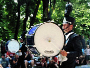 Drummers Prints - Bass Drums on Parade Print by Susan Savad