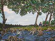 Stripped Paintings - Bass Fishing In The Stumps by Jeffrey Koss