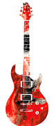 Electric Guitar Posters - Bass Guitar - Buy Colorful Abstract Musical Instrument Poster by Sharon Cummings
