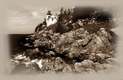 Maine Lighthouses Framed Prints - Bass Harbor Head In Sepia Tones Framed Print by Skip Willits