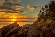 Maine Lighthouses Photo Posters - Bass Harbor Head Light at Sunset I Poster by Clarence Holmes