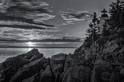 Maine Lighthouses Posters - Bass Harbor Head Light at Sunset II Poster by Clarence Holmes