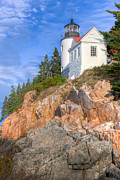 Maine Lighthouses Photo Posters - Bass Harbor Head Light I Poster by Clarence Holmes