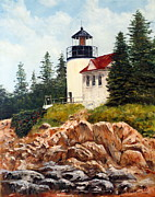 Maine Shore Painting Originals - Bass Harbor Head Light by Lee Piper