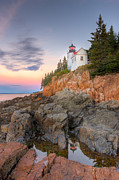 Lighted Park Prints - Bass Harbor Head Light V Print by Clarence Holmes