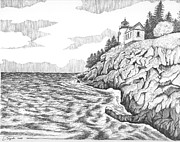 Maine Lighthouses Drawings Posters - Bass Harbor Head Lighthouse Poster by Lawrence Tripoli