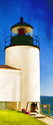 Maine Digital Art Metal Prints - Bass Harbor Head Lighthouse Maine Metal Print by Carol Leigh
