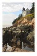 Maine Digital Art Metal Prints - Bass Harbor Head Lighthouse Metal Print by Mike McGlothlen