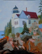 Obama Paintings - Bass Harbor Light by Francine Frank