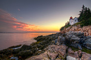 Maine Lighthouses Photo Posters - Bass Harbor Lighthouse and Coast Poster by At Lands End Photography