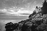 Rocky Maine Coast Posters - Bass Harbor Lighthouse at Dusk Poster by Diane Diederich