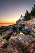 Maine Lighthouses Posters - Bass Harbor Lighthouse Reflected in Tidal Pool - Portrait Poster by At Lands End Photography