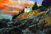 Maine Shore Painting Prints - Bass Harbor Lighthouse Sunset Print by Brent Ander