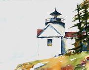 Lighthouses Paintings - Bass Harbor Lighthouse by William Beaupre