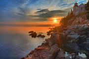 Maine Lighthouses Photo Prints - Bass Harbor Sunset Print by Adam Jewell