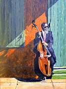 Bass Player In New Orleans Print by Barbara Jacquin