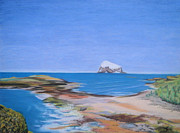 Sea Birds Pastels Framed Prints - Bass Rock North Berwick Framed Print by Yvonne Johnstone