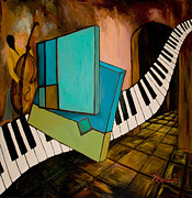 Cubism Paintings - Bass Solo by Larry Martin