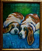 Lazy Dog Paintings - Basset Buddies by Darlene Grubbs
