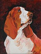 Janina Suuronen Framed Prints - Basset called Mary Framed Print by Janina  Suuronen