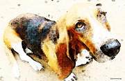 Basset Hound Framed Prints - Basset Hound - Im Ready Framed Print by Sharon Cummings