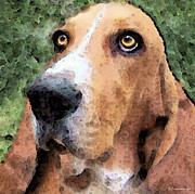 Veterinary Digital Art Prints - Basset Hound - Irresistible  Print by Sharon Cummings